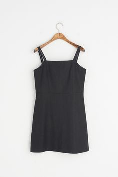 Double Strap Simple Mini Dress, Black, 100% Linen