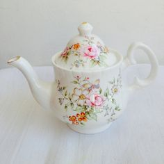 Floral Pink gold display minature Teapot  bone by LaviniasTeaParty