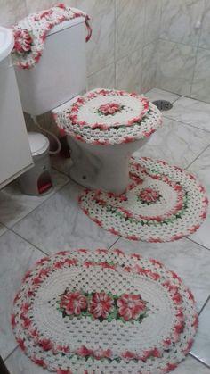 Jogo de banheiro floral.. Trabalho finalizado
