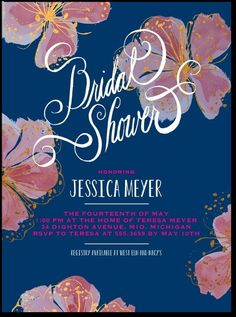 expressive floral bridal shower invite (but in pink)