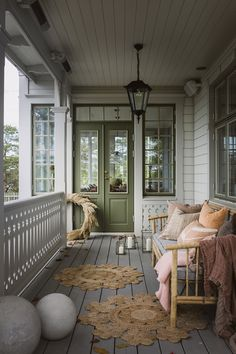 Lovely veranda for a lazy Sunday ♡ Photo . Little Green House, Swedish Cottage, Sweden House, Outdoor Rooms, Outdoor Decor, Porch Garden, Interior Decorating, Interior Design, Decorating Ideas