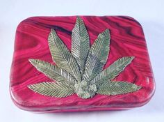 Polymer clay marijuana tin stash tin weed tin by MysticalForestUK