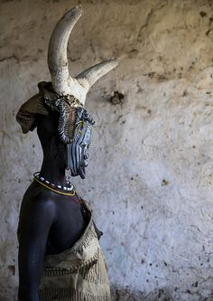 Mursi Tribe Woman With Cow Horns On Her Head, Hail Wuha Village, Ethiopia