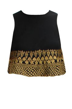 Black gold embroidered flared crop top available only at Pernia's Pop-Up Shop. a black georgette flared crop top with gold thread embroidered hem. Pakistani Couture, Indian Couture, Indian Bridal Wear, Indian Wear, Indian Dresses, Indian Outfits, Indian Clothes, Ethnic Fashion, Indian Fashion