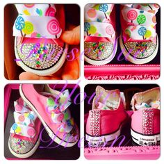 Candy Shoppe/Candyland Crystal Rhinestone Converse - Candyland birthday - Candy Shoppe - Infants/Toddler/Adults by PurseSueYourDream on Etsy