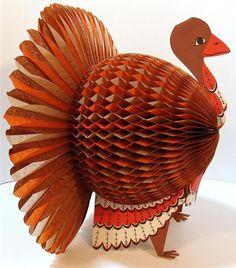 1960s Mod Turkey Paper Honeycomb Decoration U003cu003e (Thanksgiving,