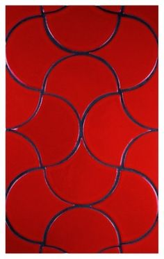 Fireclay tile Debris Series Ogee Drop in Tomato Red. Interesting use of this shape! Contemporary Kitchen Tiles, Split Complementary Color Scheme, Glazed Ceramic Tile, Traditional Tile, Red Tiles, Fireclay Tile, Simply Red, Red Paint, Color Tile