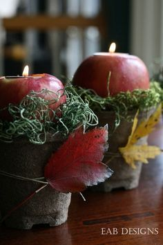Apple Votives Recipe: Take one of fall's favorite fruits and craft a glowing, sweet-smelling centerpiece.