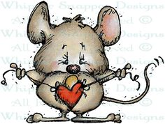 Mouse Heart on a String - Mice - Animals - Rubber Stamps - Shop