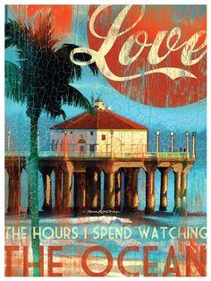 Love the ocean! Love Being in the ocean! Love smelling the ocean! Love feeling the ocean! Love hearing the ocean! Love watching at the ocean! Beach Art, Ocean Beach, Ocean Art, Ocean Life, Look Retro, Beach Quotes, Ocean Quotes, I Love The Beach, Beach Signs