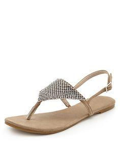 Toe Post Diamanté Sandals Clothing