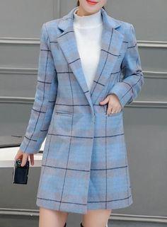 #BFCM #CyberMonday #Oasap - #oasap Turn Down Collar Long Sleeve Plaid Slim Fit Coat - AdoreWe.com