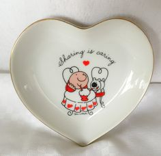 DESIGNERS COLLECTION Love Talk Porcelain ZIGGY Heart Shaped Adorable Small Plate by Thriftnstyle on Etsy