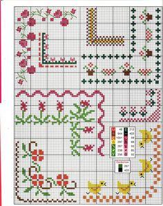 Counted Cross Stitch Design: B Cross Stitch Boarders, Mini Cross Stitch, Cross Stitch Flowers, Counted Cross Stitch Patterns, Cross Stitch Charts, Cross Stitch Designs, Cross Stitching, Cross Stitch Embroidery, Stitch Book