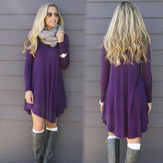 Fashion Clothes vestidos Women 2016 Autumn Winter Dress Female Cotton O-neck Long Sleeve Mini Woolen Dresses