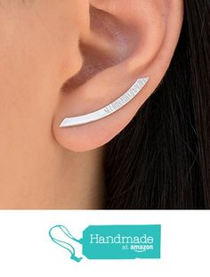 Pair of sterling silver ear cuffs, fashion earrings, silver ear climbers, curved bar earring studs, hypoallergenic earings, bar ear crawlers handmade by Emmanuela from Emmanuela - Art in silver https://www.amazon.com/dp/B015OOQQ36/ref=hnd_sw_r_pi_dp_Va2jybV3C86V8 #handmadeatamazon