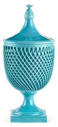 "One Kings Lane - Brighten Up - 17"" Astor Lattice Vase, Turquoise"