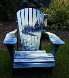 Paint For Adirondack Chairs Childrens Toy Table And 214 Best Images Outdoor Furniture With Hand Painted Murals By Artist Ken Wheeler