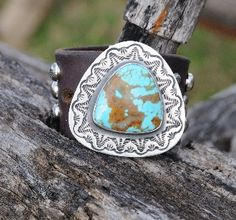 Super cool leather, silver and turquoise bracelet!