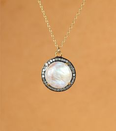 Rainbow moonstone and diamond necklace - moonstone pendant necklace - pave…