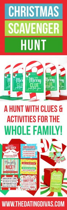 Clues and activities for a Christmas Scavenger Hunt the whole family can enjoy! Each stop on the scavenger hunt includes a Christmas-themed task or game! This would be so fun to do Christmas morning and the last stop be all the presents from Santa! Xmas Games, Holiday Games, Christmas Party Games, Holiday Activities, Holiday Fun, Holiday Ideas, Family Activities, Grinch Party, Christmas Games For Women