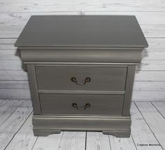 This super sleek tall nightstand called out for Fusion Mineral metallic paint in brushed steel . I saw a dresser done last year and l. Walnut Bedroom Furniture, Bedroom Furniture Makeover, Vintage Furniture, Diy Furniture, Bedroom Ideas, Upcycled Furniture, Kitchen Furniture, Metallic Painted Furniture, Chalk Paint Furniture