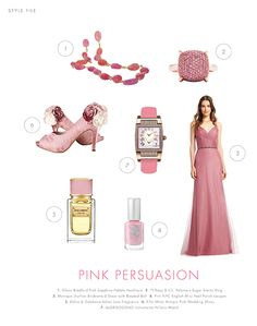 Pink and rose tones create a stylish look for any bridesmaid. Adding simple accessories and rose-inspired shoes make for a graceful, stunning formal look. #librideandgroom #bridesmaid #wedding #pink  #lace #roses