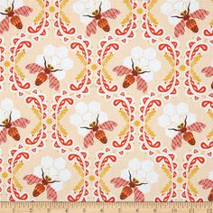 Art Gallery Sweet as Honey Bee Sweet Sunset from @fabricdotcom  Designed by Bonnie Christine for Art Gallery Fabrics, this cotton print is perfect for quilting, apparel and home decor accents.  Colors include white, gold, peach, coral red and brown.  Art Gallery Fabric features 200 thread count of finely woven cotton.