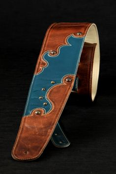 Brown leather guitar strap turquoise leather by EthosCustomBrands