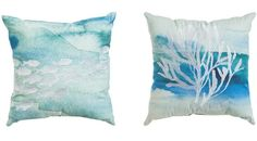 Pair of Blue Coastal Burlap/Cotton Pillows 18x18 inches on sale for $61.99 Featured here: http://www.completely-coastal.com/p/coastal-sale-island.html