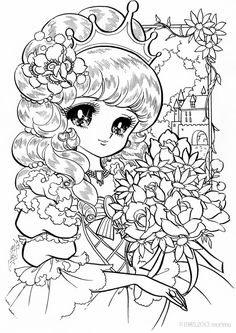 Japan. Dream Girl. Lace dress. Free Coloring Pageプリンセスブーケ