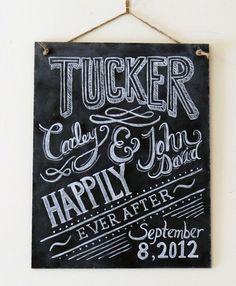Custom Wedding Chalkboard Sign - Chalkboard Art - Gift for Newlyweds - Personalized Wedding Gift - Chalkboard Decor. $95.00, via Etsy.