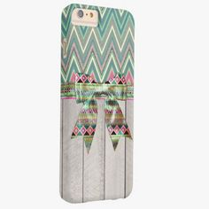 iPhone 6 Plus Cases | Girly Aztec Bow Ribbon Abstract Teal Pink Chevron Barely There iPhone 6 Plus Case