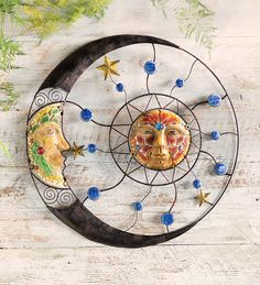 Mosaic Sun And Moon Wall Sculpture, Wind and Weather
