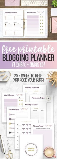 Ideas Planner Organization Goals Free Printables For 2019 Blog Planner Printable, Free Printables, Free Planner, Goals Printable, Planner Diy, Blogger Tips, Filofax, Blog Organisation, Planner Organization