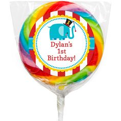 On a day made for sweetness, treat guests to a yummy favor at this first birthday celebration. Our 1st Birthday Circus Custom Lollipops are rainbow swirl and include a customizable sticker with adorable circus accents. Designed to coordinate with the Fisher Price 1st Birthday Circus theme, stickers measure 2.25 inches round and can be personalized with your own unique wording. Add the name of the guest of honor or a special message of thanks for a cute accent. Lollipops measure 3 inches ...