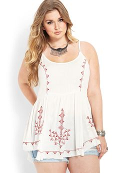 Embroidered Peasant Tunic | FOREVER21 Love yourself. No guilt. love yourself. No guilt. plus Size. Full figure. Curvy.  Fashion.  BBW. Curves. Accept your body. Body consciousness Fragyl Mari supports you!