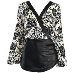 Preowned Vintage Max Mara 1990s Black And White Asian Inspired Size... ($525) ❤ liked on Polyvore featuring tops, blouses, white, silk blouse, white bell sleeve top, black white blouse, white and black blouse and vintage silk blouse