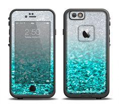 The Aqua Blue & Silver Glimmer Fade Apple iPhone 6 LifeProof Fre Case Skin Set