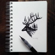 Usually, it's the double exposure artists that try to merge animals and their surroundings. Not so with Sam Larson! He uses paints and inks to make his drawings. Amazing Drawings, Cool Drawings, Drawing Sketches, Amazing Art, Tree Sketches, Sketching, Illustrations, Illustration Art, Karten Diy