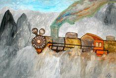 Artwork >> Ilona Art Hungary >> Az utolsó vonat Fantasy Fiction, Hungary, Wildlife, Watercolor, Abstract, Gallery, Artwork, Poster, Painting