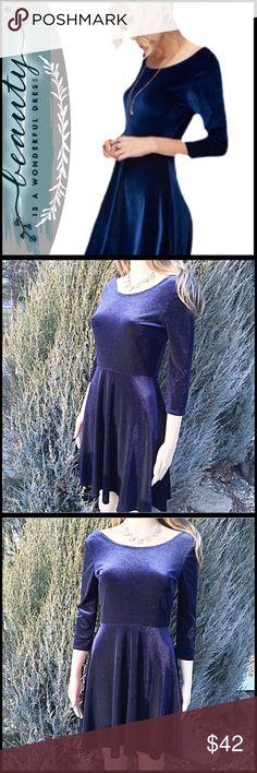 Velvet Swing Dress; Navy tones velvet swing dress Boutique Dresses