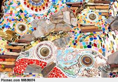 mosaic wall decorative ornament from ceramic broken tile