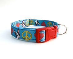 Blue Peace Love and Boston Terrier Dog Collar by StitchyWitchyDesigns, $18.50