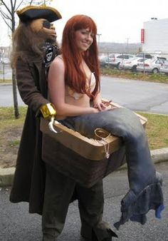 Pirate and mermaid Haloween costume, that has to be the coolest costume ever.