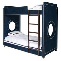 """Gramercy Porthole Bunk Bed Shown in Twin over Twin with Ladder Fabric: Arizona Navy #0534 with Polished Nickel Nailheads H- 72"""", W-83"""", D..."""