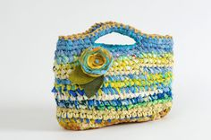 Blue and Yellow Crocheted Purse / Tote ... By Odaam ... TAGT team. $45.00, via Etsy.