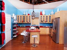 Stanley and Hilari's Bold Blue-and-Red Kitchen