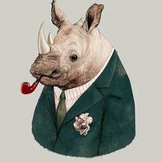 Green Suited Rhino is a T Shirt designed by animalcrew to illustrate your life and is available at Design By Humans