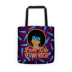 This long-strap printed tote bag is made from recycled materials. We Rock, Printed Tote Bags, Black Girls, Reusable Tote Bags, Prints, Accessories, Collection, Black Women, Jewelry Accessories